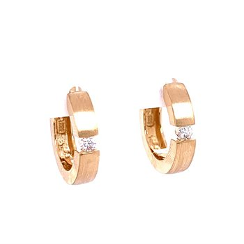 Yellow Gold Hoop Earrings with Diamond