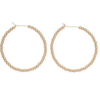 "Gold Filled 1.75"" 3mm Beaded Hoop"