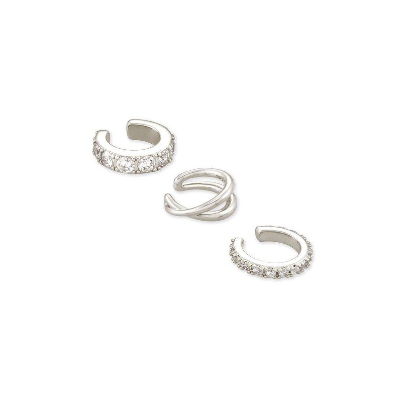 Kendra Scott Kendra Scott Livy Earring Cuff Set Of 3 Rhodium Metal