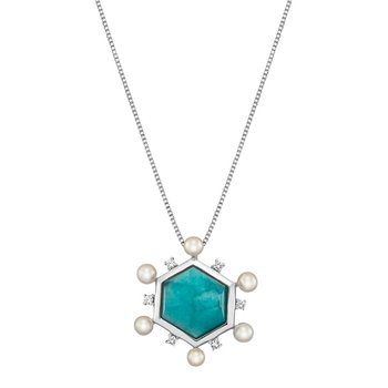 Amazonite Pendant with Pearls and White Sapphires
