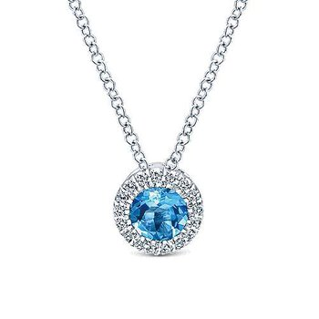 14K White Gold Round Swiss Blue Topaz and Diamond Halo Necklace