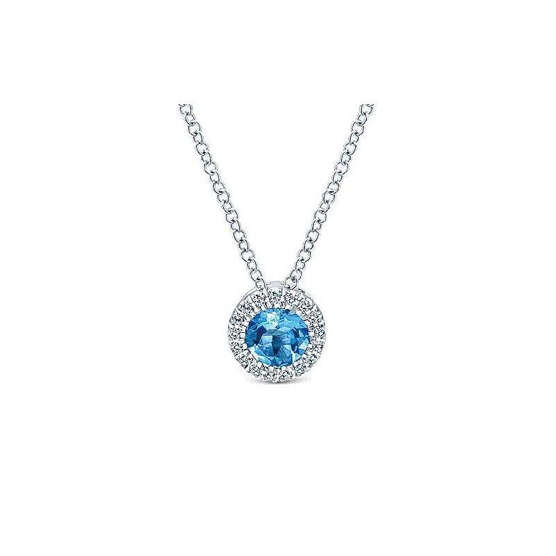 Gabriel Fashion 14K White Gold Round Swiss Blue Topaz and Diamond Halo Necklace