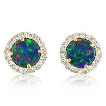 Opal and Diamond Halo Studs