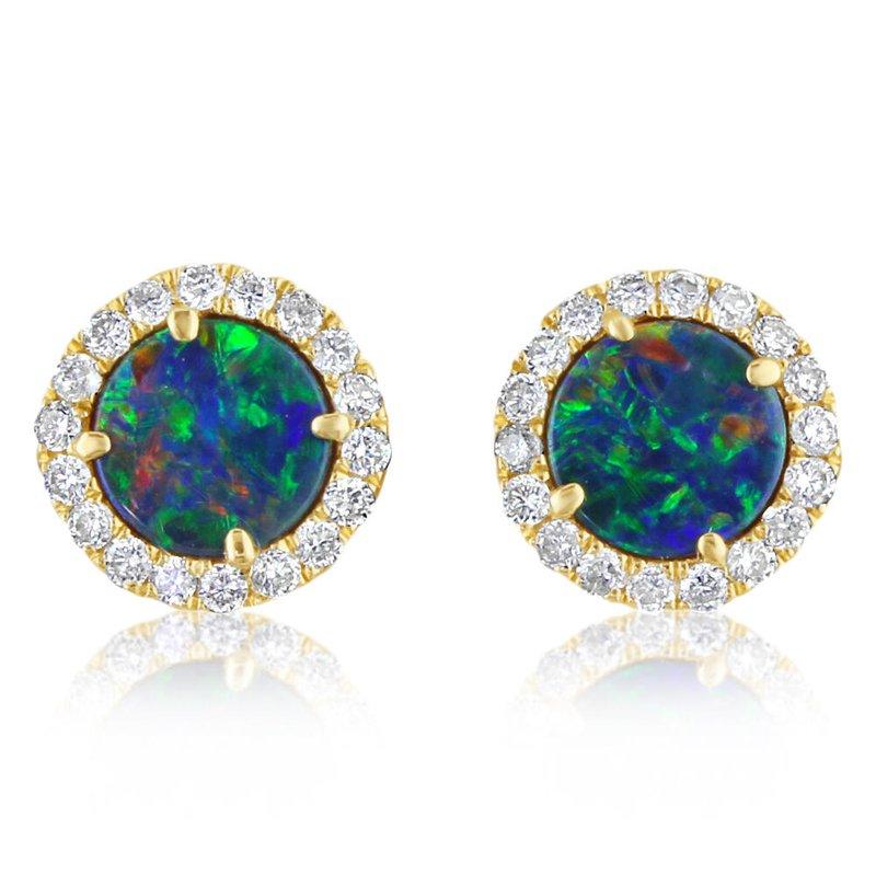 Lasker Gemstone Opal and Diamond Halo Studs