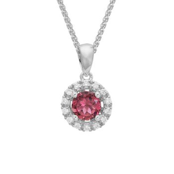 Pink Tourmaline & Diamond Halo Pendant