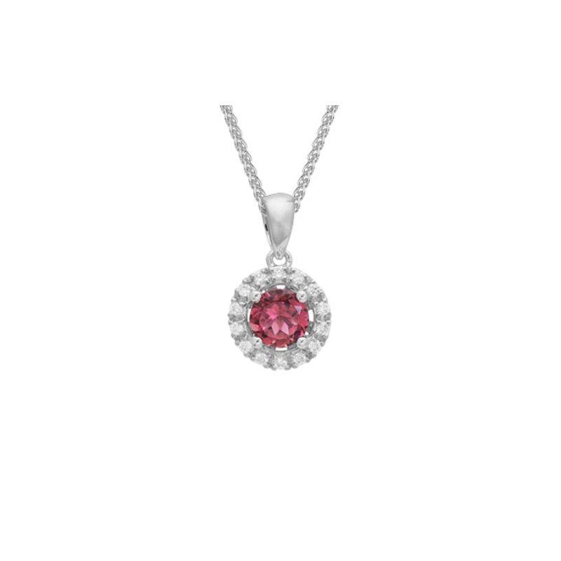 Lasker Gemstone Pink Tourmaline & Diamond Halo Pendant
