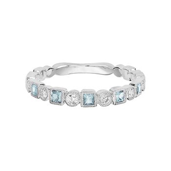 Aquamarine & Diamond Stackable Band