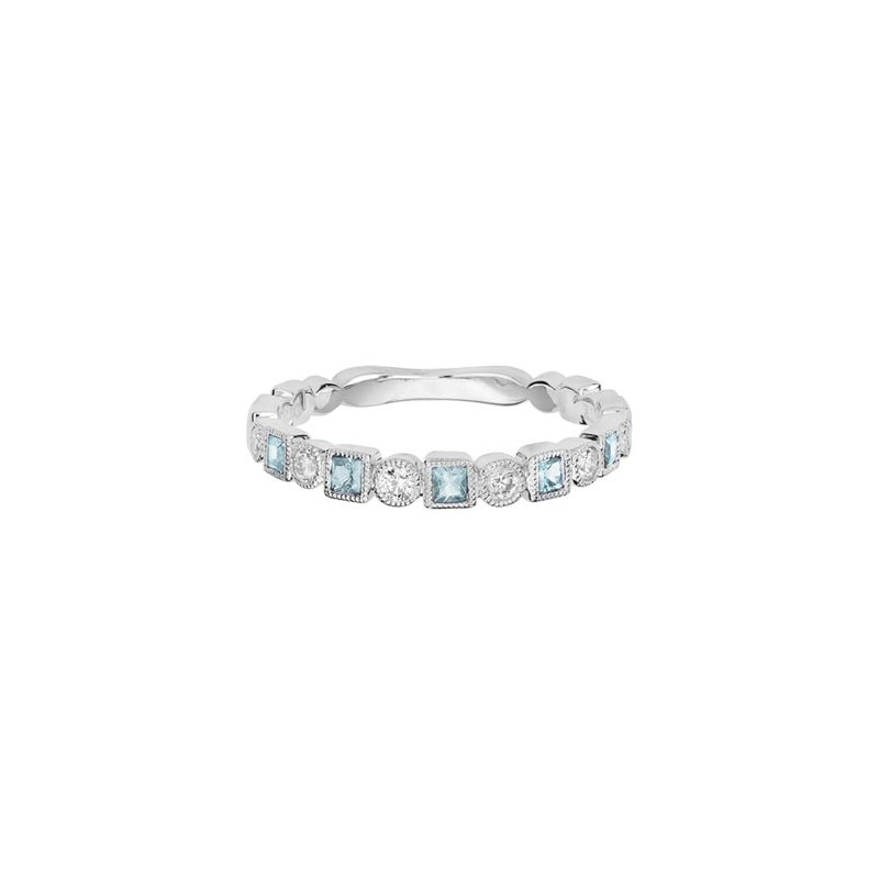 Lasker Gemstone Aquamarine & Diamond Stackable Band