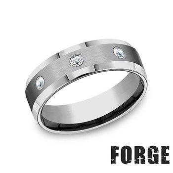 7MM Beveled Edge Tungsten Band with White Diamonds