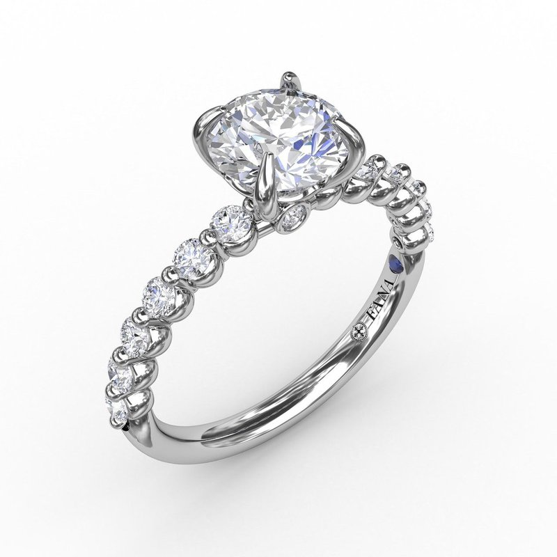 Fana Engagement Ring Mounting with Soft Swirl Band