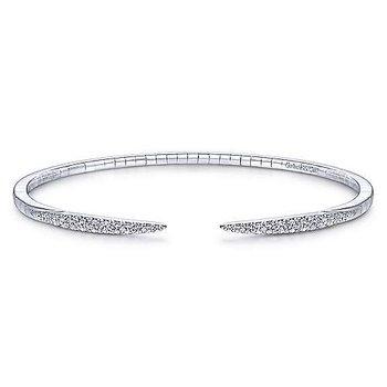 14Kt White Gold Split Diamond Spike Bangle