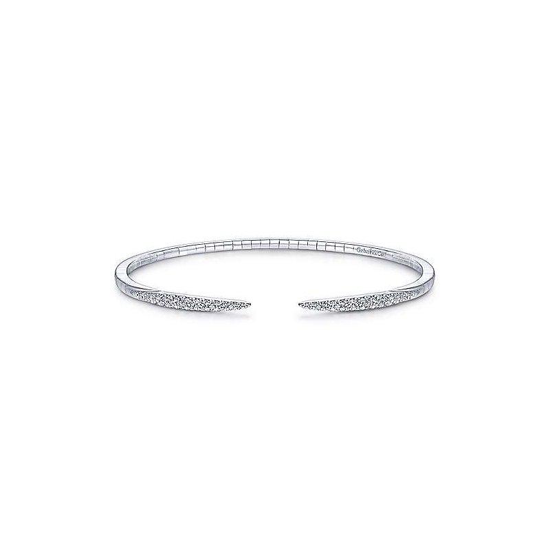 Gabriel Fashion 14Kt White Gold Split Diamond Spike Bangle
