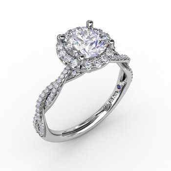 Round Halo Twist Engagement Ring Mounting