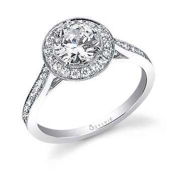 Miligrain Bezel Round Halo Engagement Ring