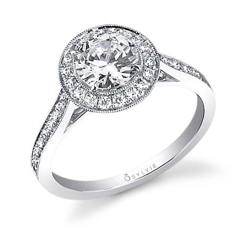 Lasker Bridal Miligrain Bezel Round Halo Engagement Ring