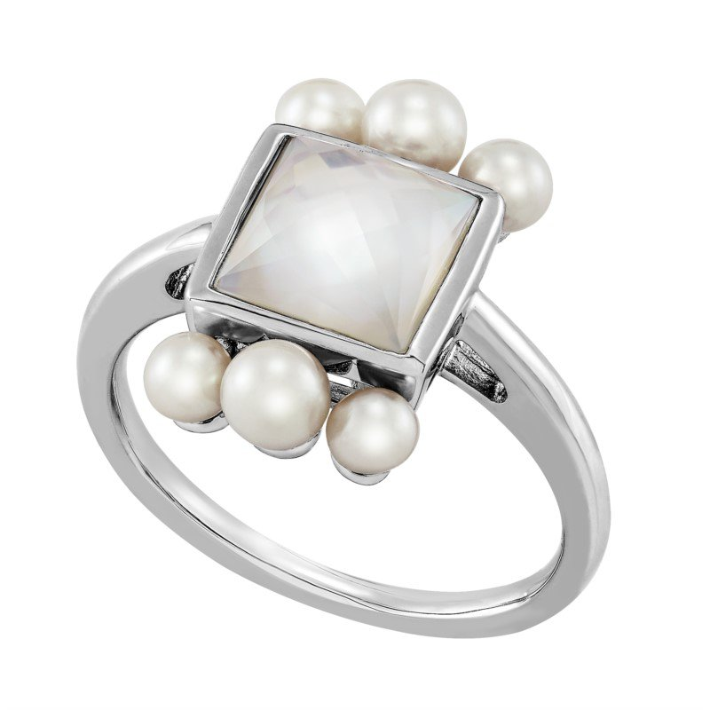 Lasker Pearl Fashion White Mother of Pearl and Pearl Ring