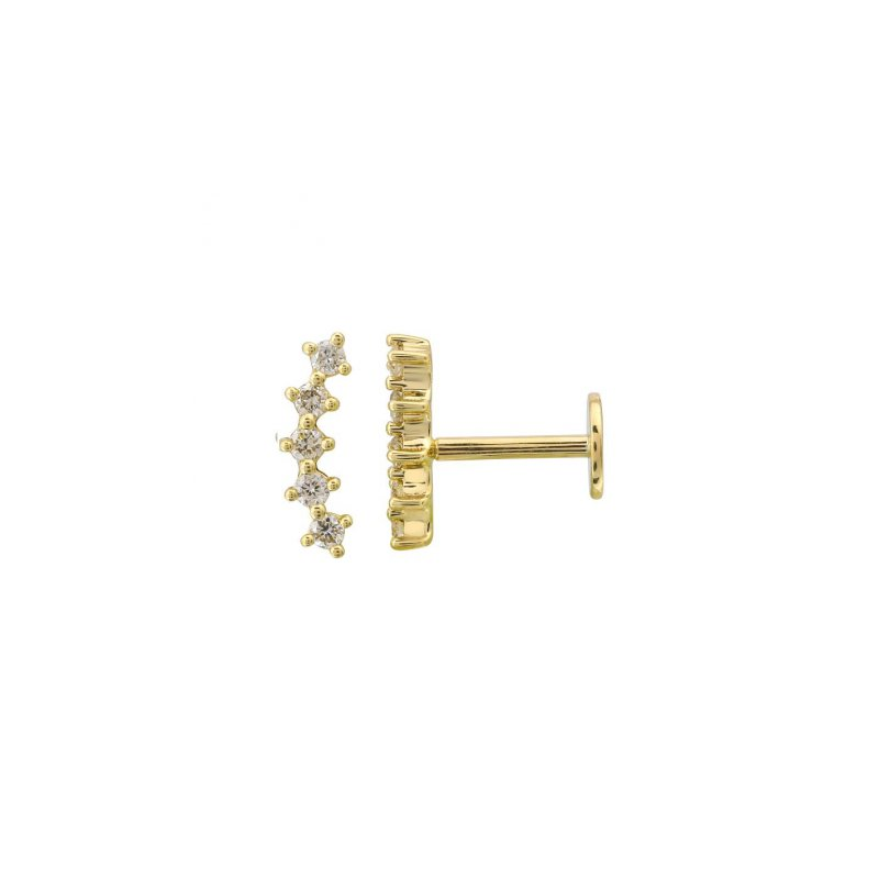 Lasker Diamond Fashion Curved Bar Flat Back Earring