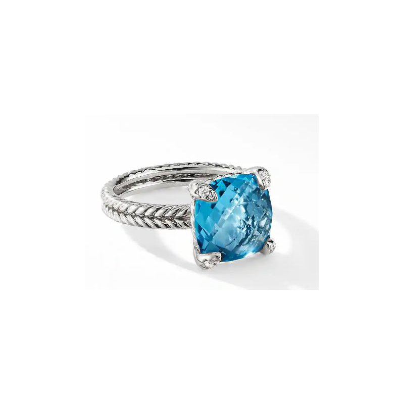 Lasker Gemstone David Yurman Chatelaine Ring with Hampton Blue Topaz