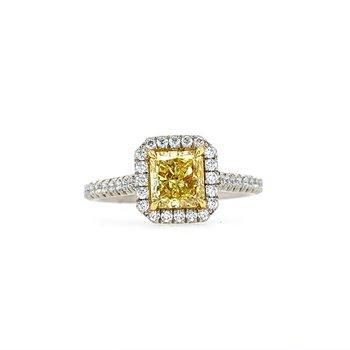 Fancy Yellow Diamond Halo  Ring