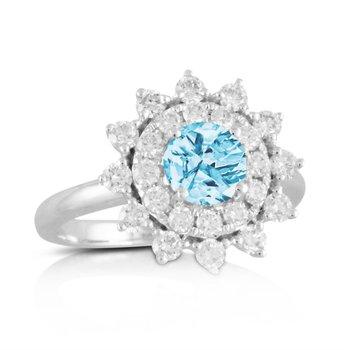 Sky Blue Topaz Ring with Diamonds