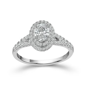 Double Halo Oval Ring