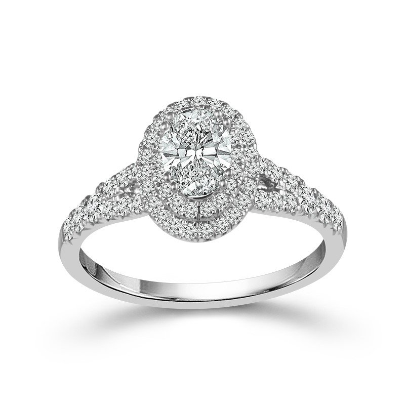 Lasker Bridal Double Halo Oval Ring