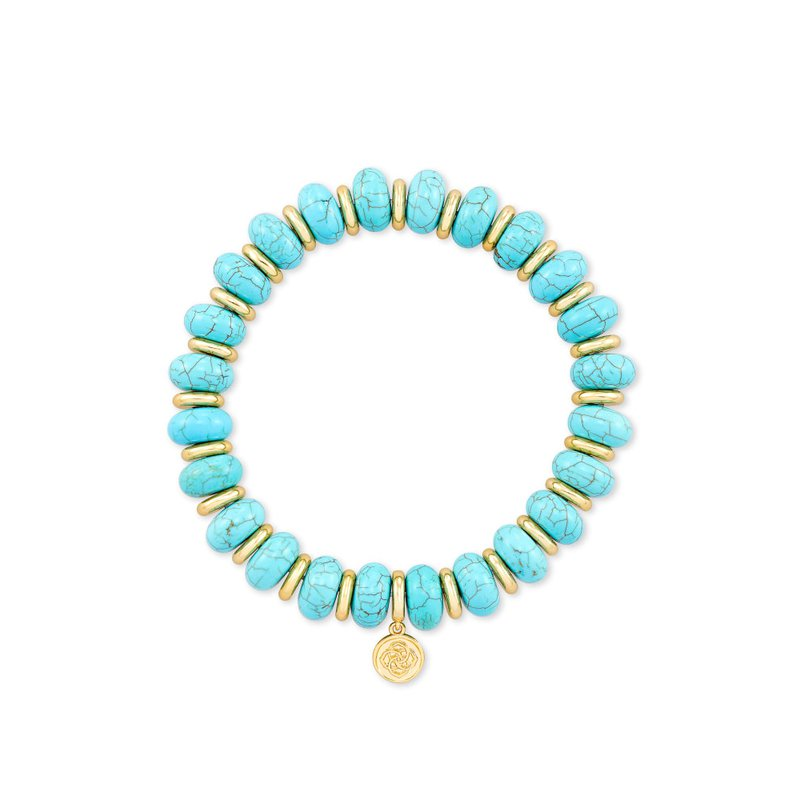 Kendra Scott Rebecca Gold Stretch Bracelet In Variegated Turquoise Magnesite