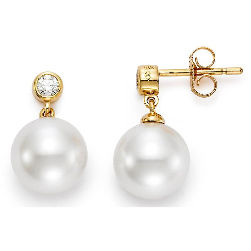 Lasker Pearl Fashion Pearl & Diamond Stud Earrings