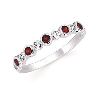 January Stackable Birthstone and Diamond Band