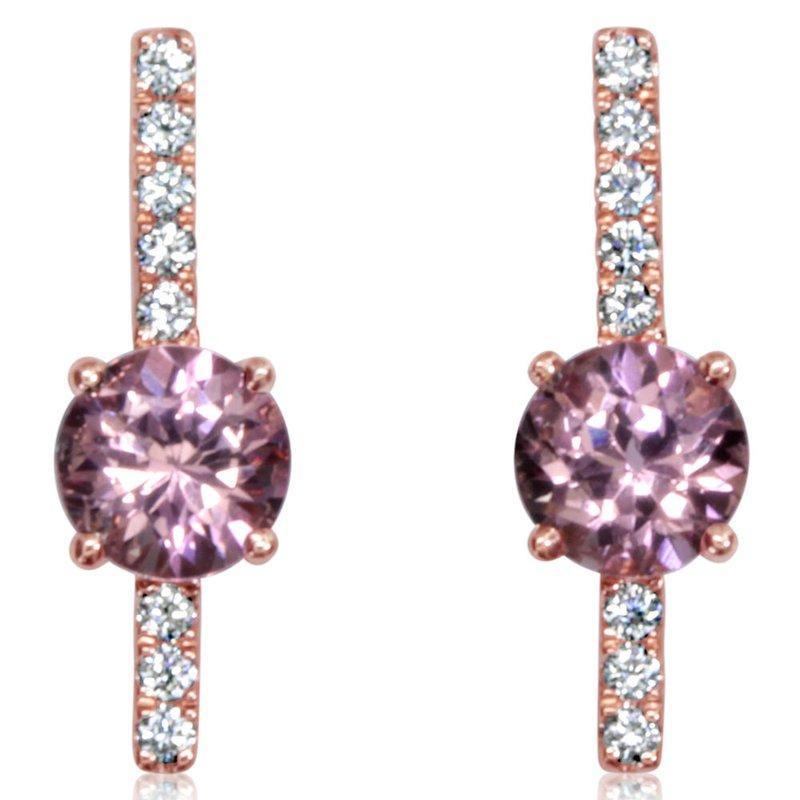 Lasker Gemstone Lotus Garnet & Diamond Stick Earrings