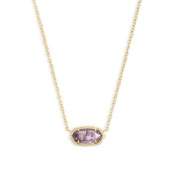 Elisa Gold Pendant Necklace In Amethyst