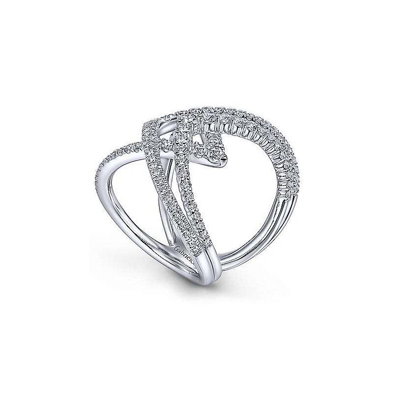 Gabriel Fashion 14K White Gold Wide Band Layered Diamond Ring