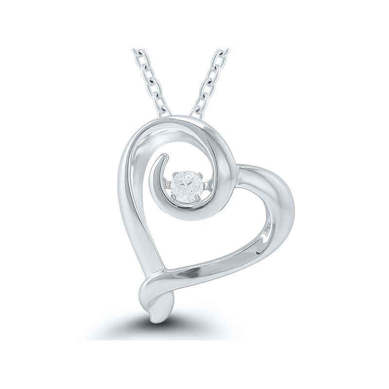 Lasker Diamond Fashion Sterling Silver Diamond Heart Pendant