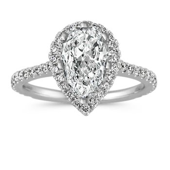 Selma Halo Engagment Ring - 1-1/2cttw