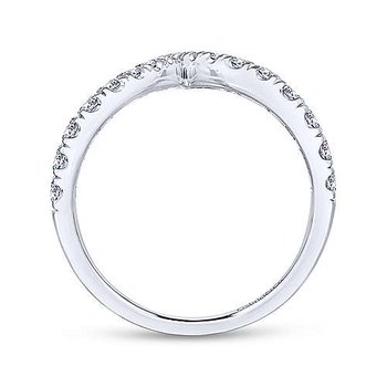 14K White Gold V Shaped Bypass Diamond Ring