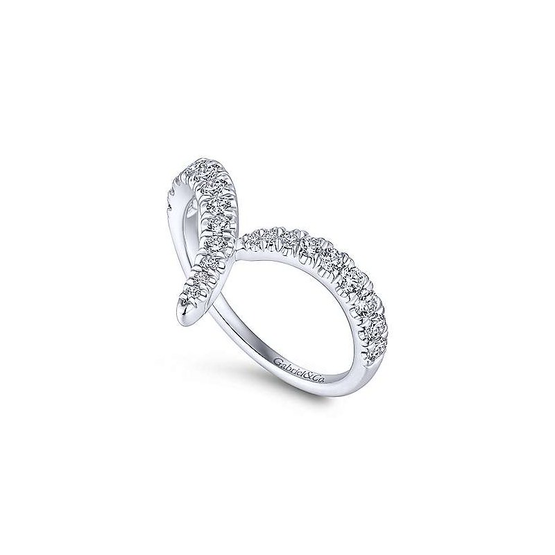 Gabriel Fashion 14K White Gold V Shaped Bypass Diamond Ring