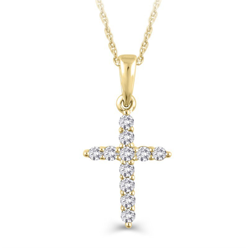 Lasker Diamond Fashion Diamond Cross Pendant - 0.25TW