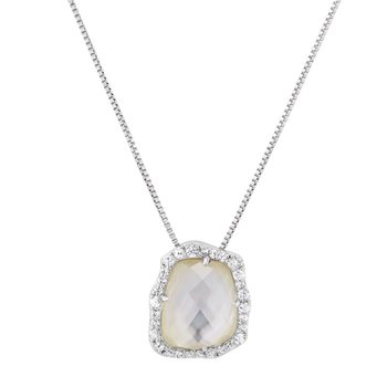 Geometric Pearl and White Sapphire Necklace