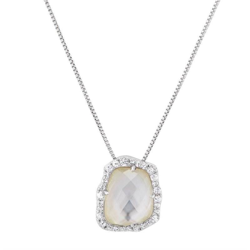 Lasker Pearl Fashion Geometric Pearl and White Sapphire Necklace