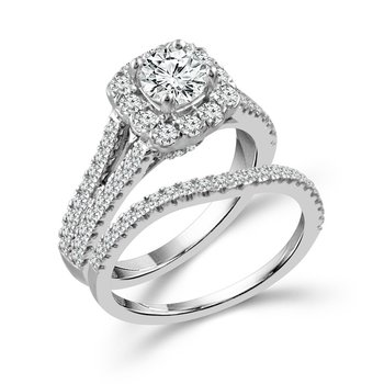 Split Shank Halo Wedding Set