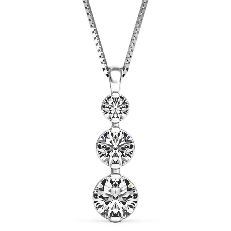 Lasker Diamond Fashion Past, Present, Future 3-Stone Pendant - .25cttw