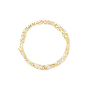 MOLLIE STRETCH BRACELET SET 3 WHITE PEARL IN YELLOW