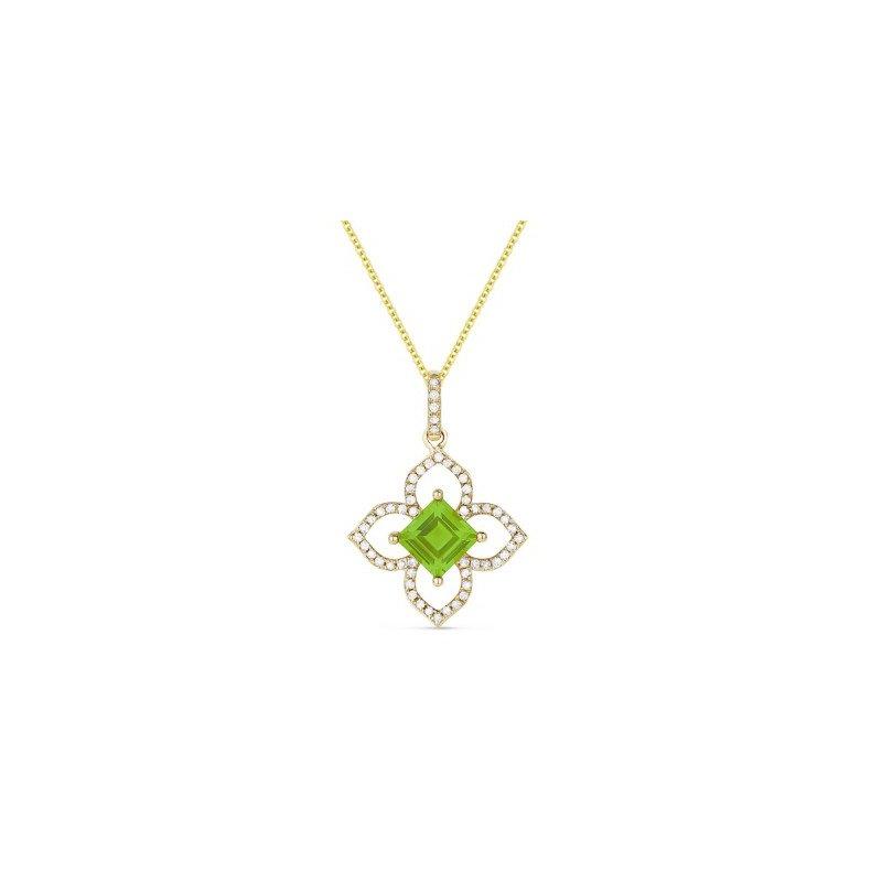 Lasker Gemstone PERIDOT AND DIAMOND FLOWER PENDANT