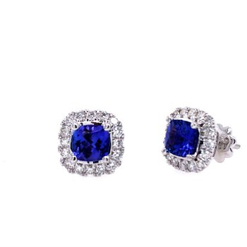 Tanzanite & Diamond Halo Stud Earrings