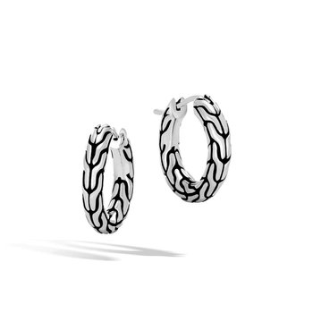 Extra Small Chain Silver Hoop Earrings