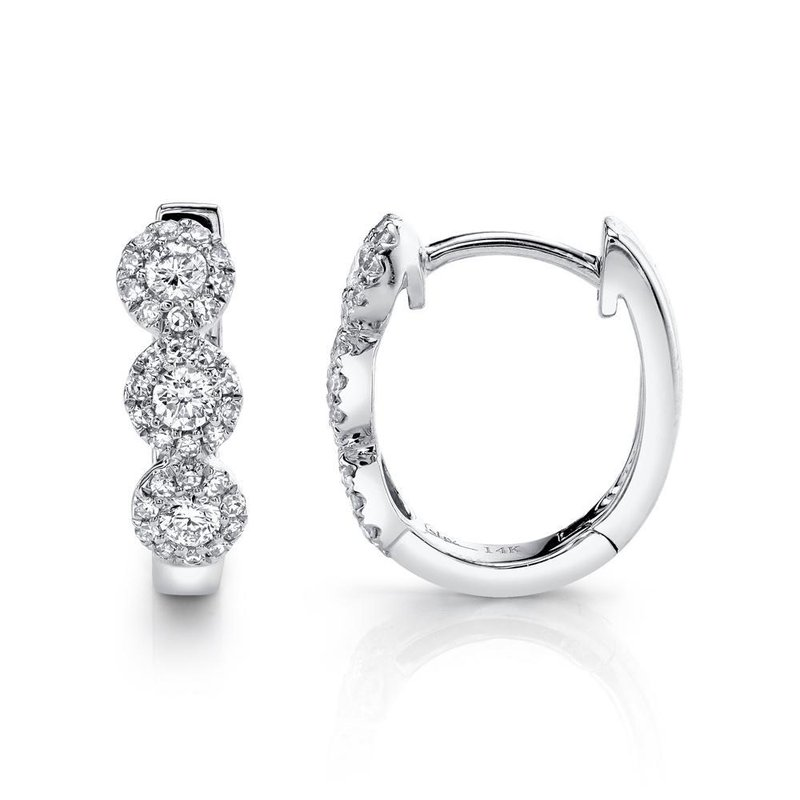 Lasker Diamond Fashion 3 Halo Hinged Hoop Earrings