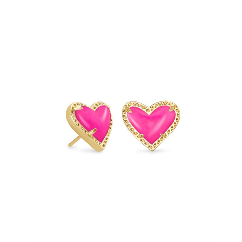 Kendra Scott Ari Heart Gold Stud Earrings In Magenta Magnesite