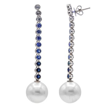 South Sea Pearl & Sapphire Drop Earrings
