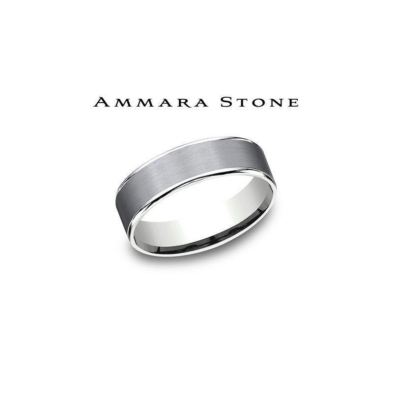 Lasker Men's Amara Stone - Tantalum & White Gold Band