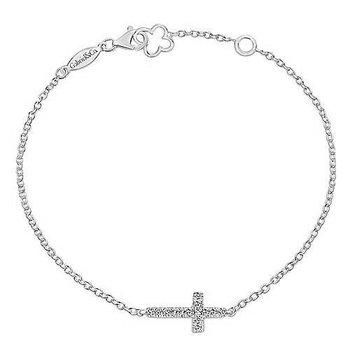 14Kt White Gold Chain Bracelet with Horizontal Diamond Cross
